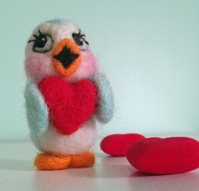 Felted Bluebird Valentine d